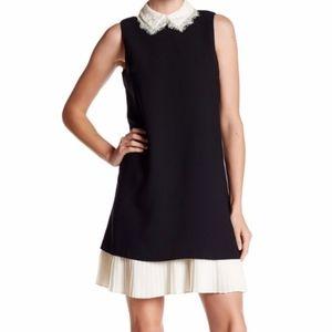 Nanette Lepore lace collar pleated hem black dress
